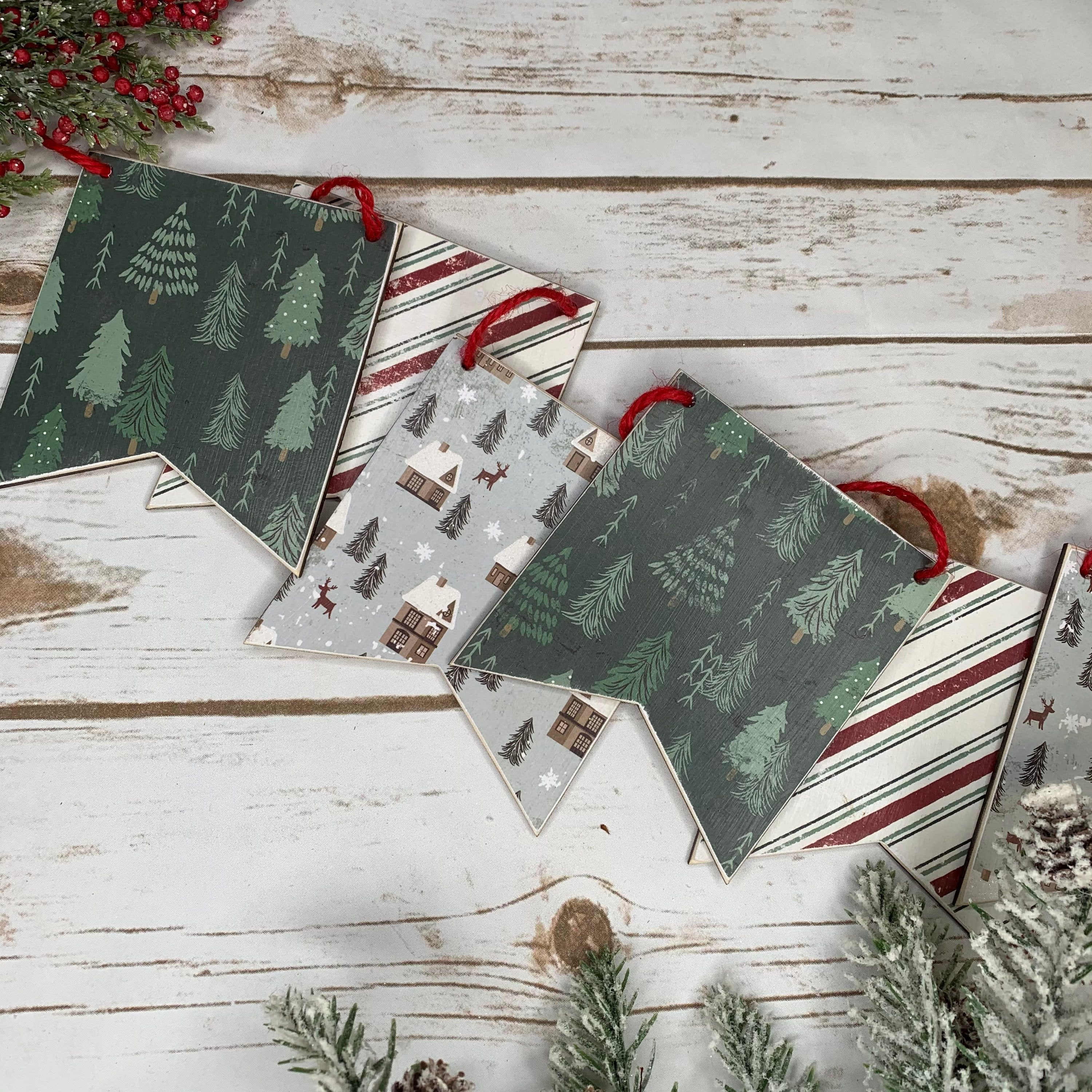 Christmas Trees and Houses Wood Banner | Wood Banner