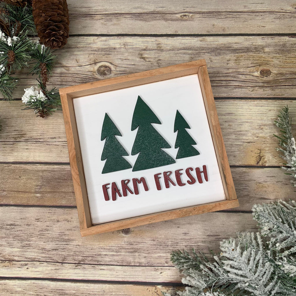 12x12 Farm Fresh Christmas Trees 3D Wood Sign | Christmas sign | Small wood sign | Christmas Decor | Christmas | December Sign | Tiered tray