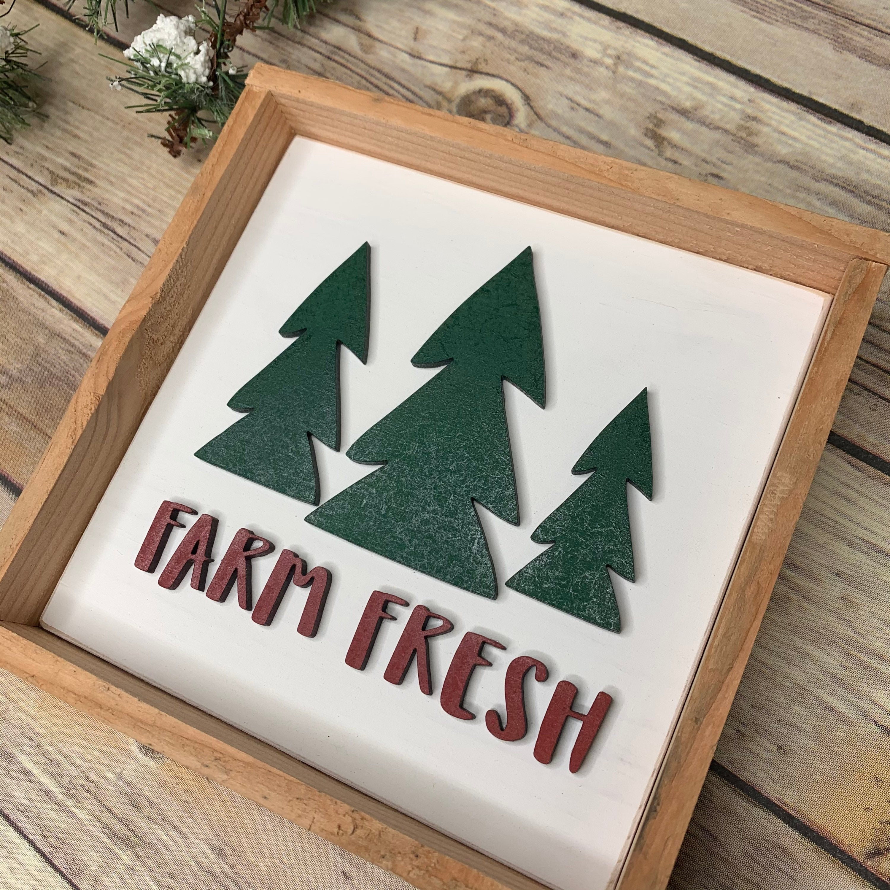 6x6 Farm Fresh Christmas Trees 3D Wood Sign | Christmas sign | Small wood sign | Christmas Decor | Christmas | December Sign | Tiered tray