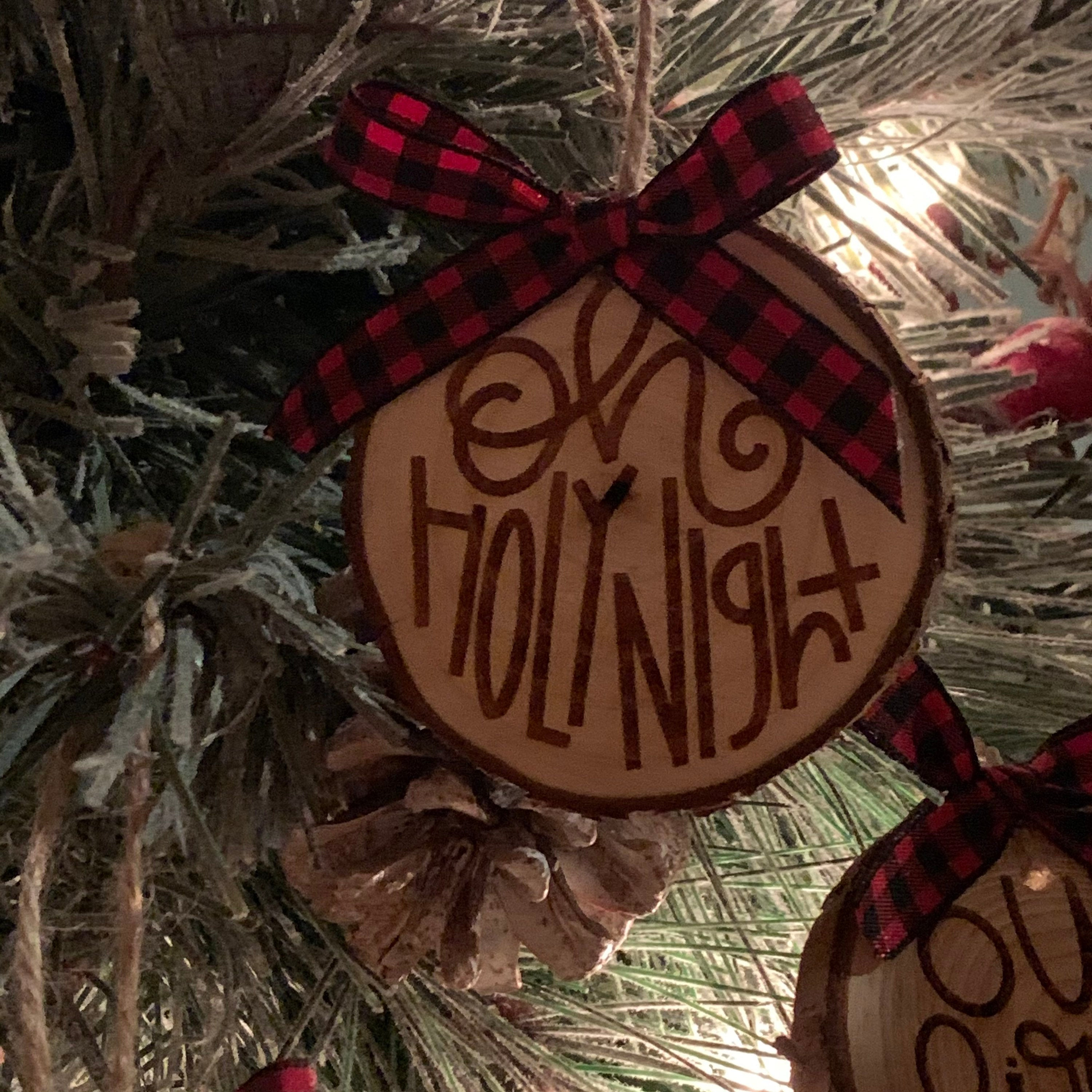 Engraved Wood Slice Ornaments With Bow