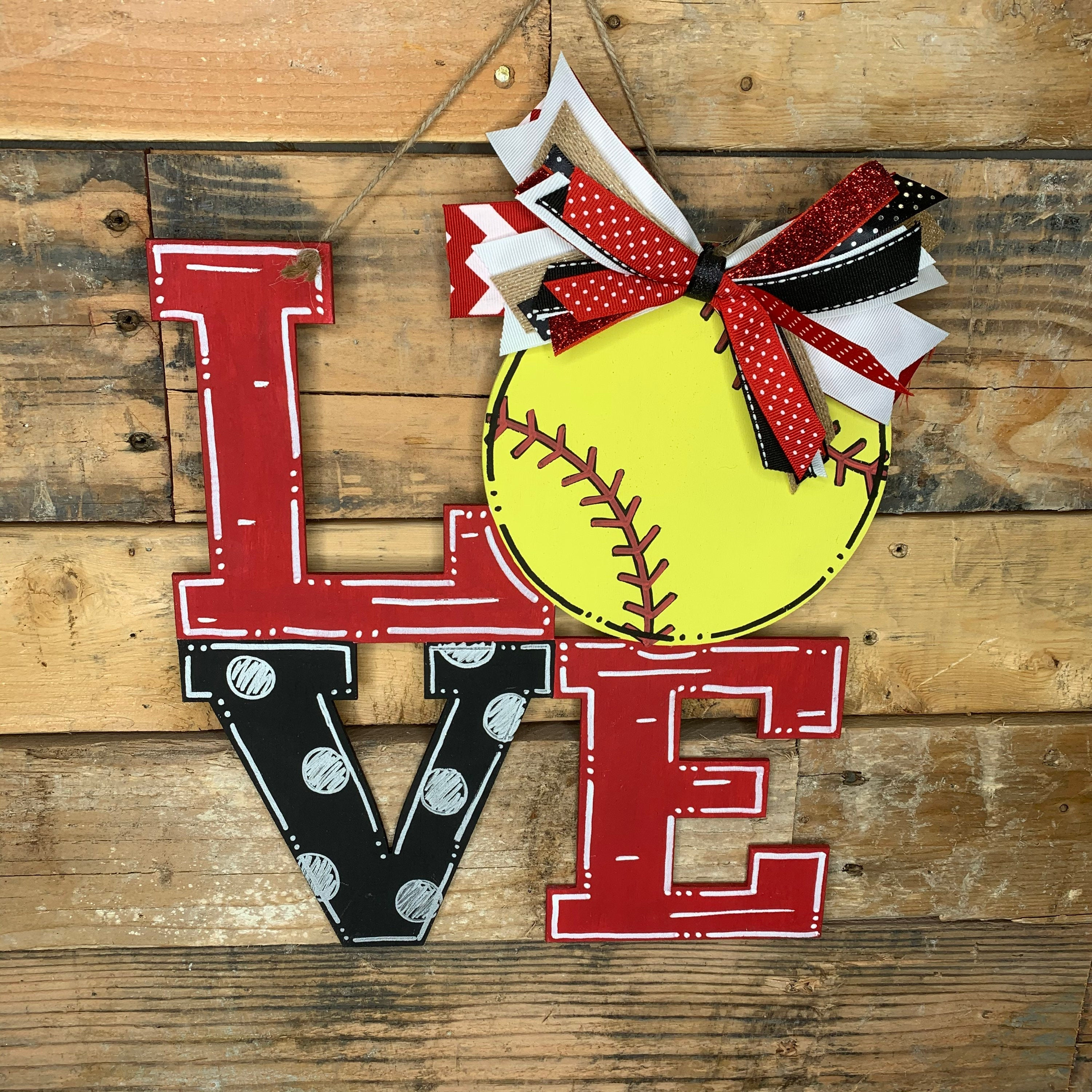 Softball/Baseball Love Door Hanger