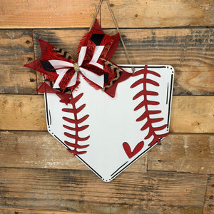 Baseball/Softball 3D Love Home Plate Door Hanger