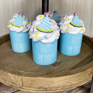 Mini Wooden Happy Birthday Cuppy Cake 3 1/2 in