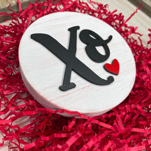 XO hugs and kisses Heart 3D Wood Sign | Valentines sign | Small wood sign | Valentines Decor | Valentines | February Sign | Tiered tray