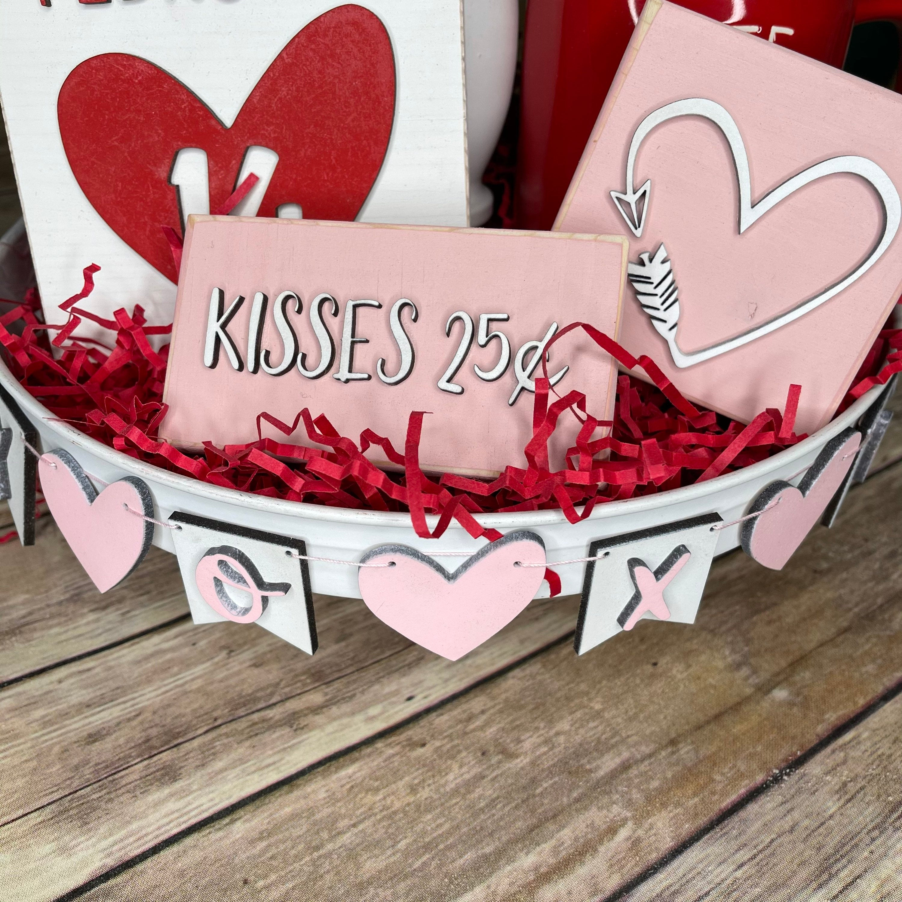 Valentines Pink Tiered Tray Set | Wood 3D