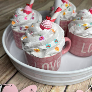 Mini Love Mug Cupcake 3 1/2 in ceramic | Tiered Tray Valentines Mug strawberry wafer faux whip