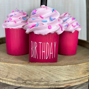 Mini Wooden Birthday Cuppy Cake 3 1/2 in