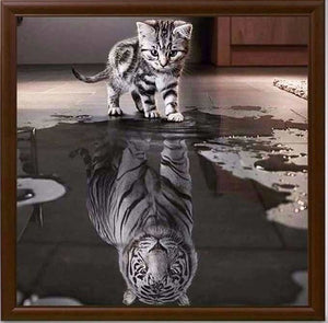 100% DIY 5d Diamond Painting Cross Stitch Kit - Cat To Tiger Mosaic - The Oasis Lab