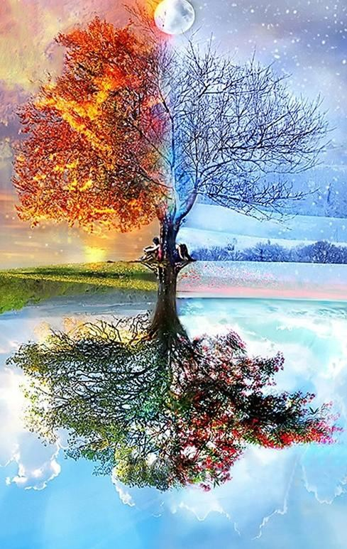 100% DIY 5d Diamond Painting Cross Stitch Kit -Tree Seasons Mosaic - The Oasis Lab