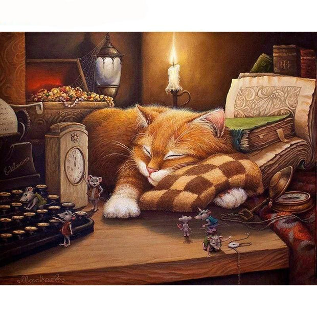 100% DIY Paint By Numbers Kit - Sleeping Cat Artwork - The Oasis Lab