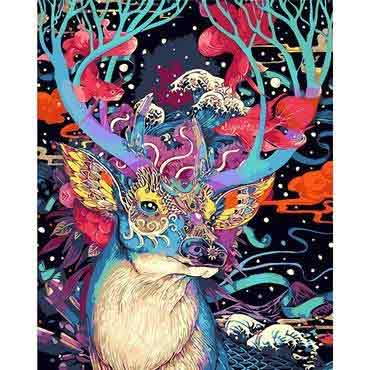 100% DIY PAINT BY NUMBERS KIT - ABSTRACT DEER ARTWORK - The Oasis Lab