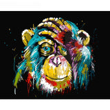 100% DIY Paint By Numbers Kit -Abstract Baboon Artwork - The Oasis Lab