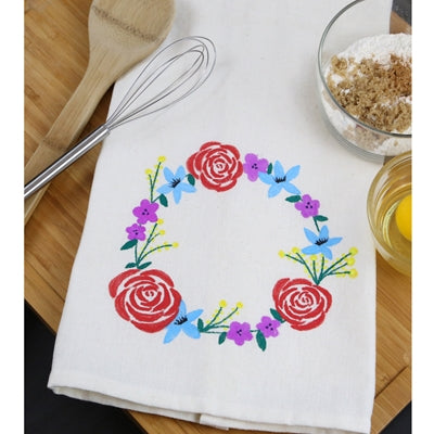Floral Wreath Custom Kitchen Towel