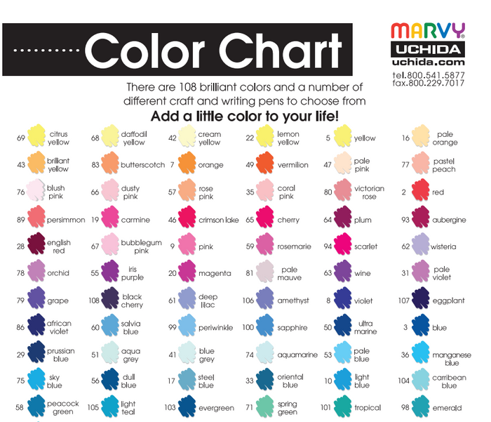 108 COLOR CHART