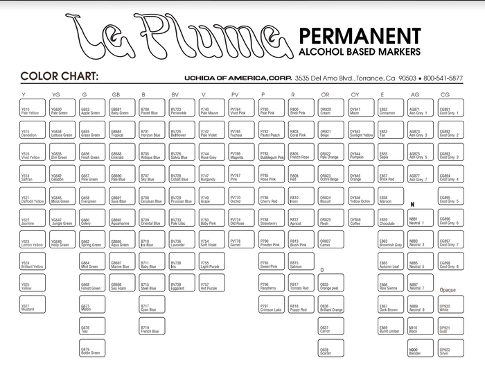 Le Plume Permanent Blank Color Chart