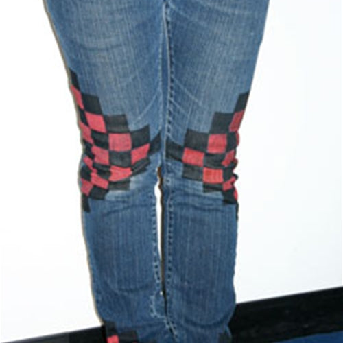 DIY Checker Print Jeans