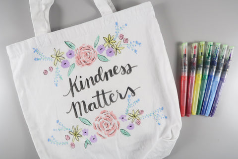 Watercolor Tote Bag Tutorial - Fabri Ink Marvy Uchida