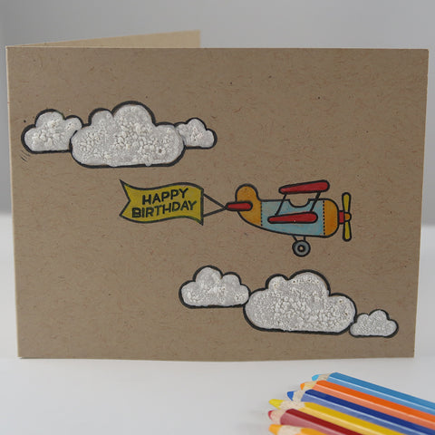 Happy Birthday Card with Puffy Clouds