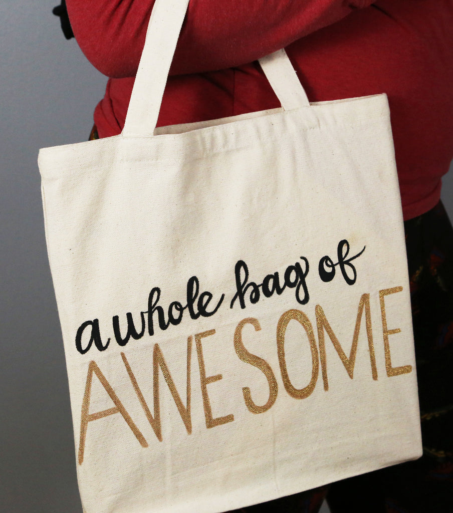 How To Make a DIY Glitter Awesome Tote Bag Project