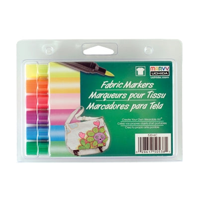 FABRIC MARKER BRUSH TIP - FLUORESCENT SET