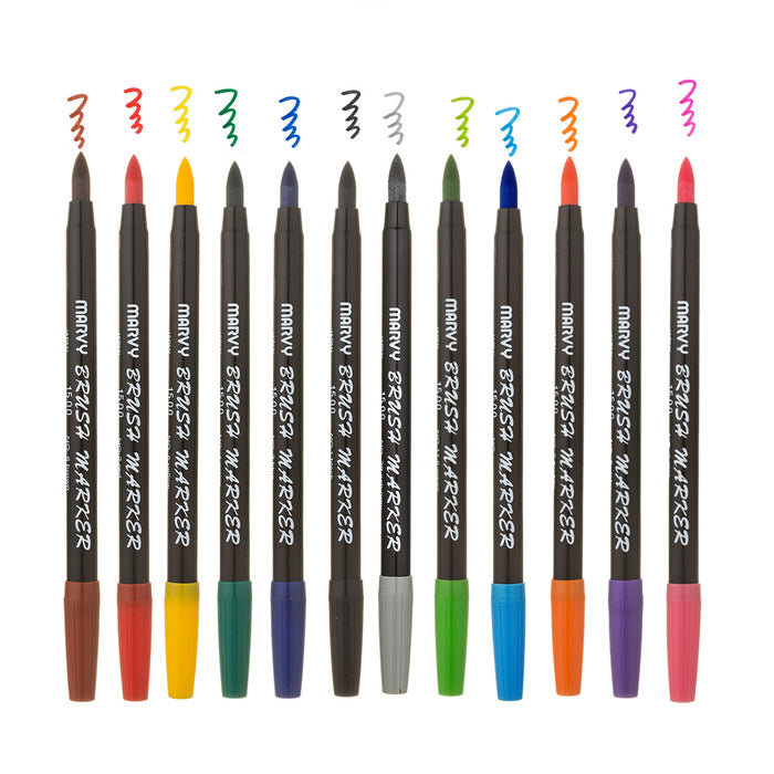 BRUSH MARKER - 12 PIECE PRIMARY SET A