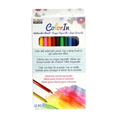 COLOR IN WATERCOLOR PENCILS - 12 PACK - Marvy Uchida
