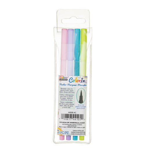 COLOR IN BRUSH MARKER - 4 PC SETS - Marvy Uchida