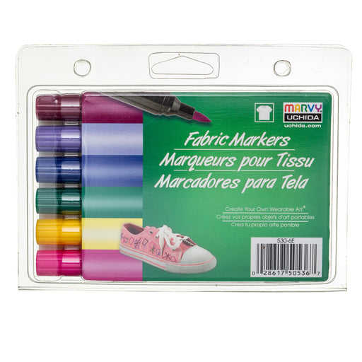 FABRIC MARKER BRUSH TIP - BRIGHT SET - Marvy Uchida