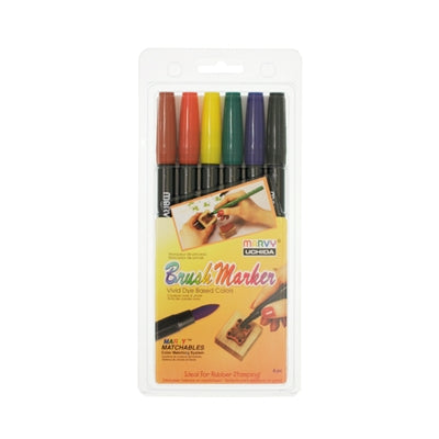 BRUSH MARKER - 6 PIECE PRIMARY SET A