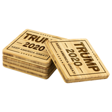 Load image into Gallery viewer, Trump 2020 Bamboo Wood Coaster Set