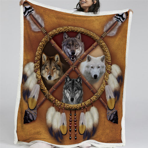 Wolves Dreamcatcher Sherpa Fleece Blanket