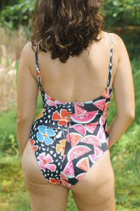 MEL V-NECK ONE PIECE, Floral Melon Split - Summer People Swim