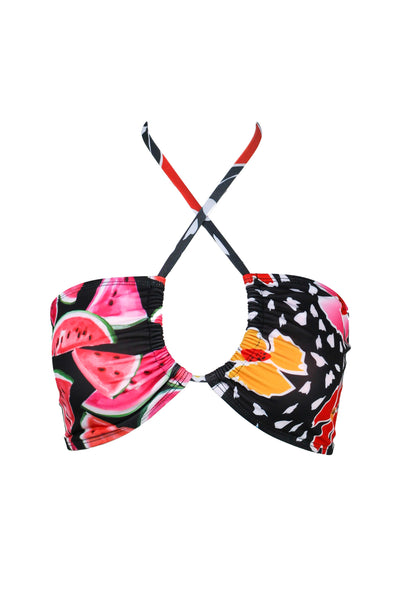 OYA TIE FRONT BANDEAU, Floral Melon Split - Summer People Swim