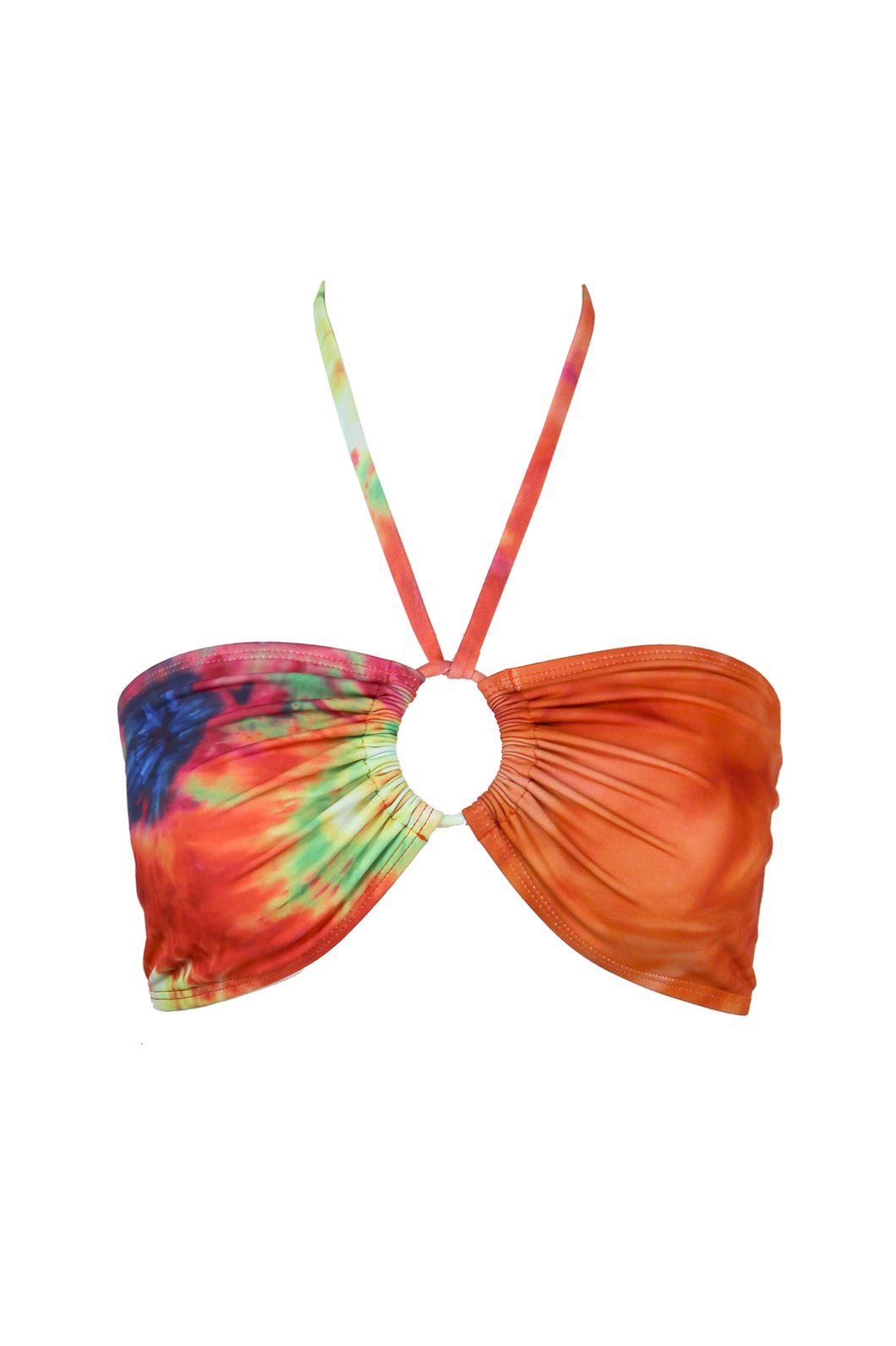 OYA TIE FRONT BANDEAU, Tie Dye Split - Summer People Swim
