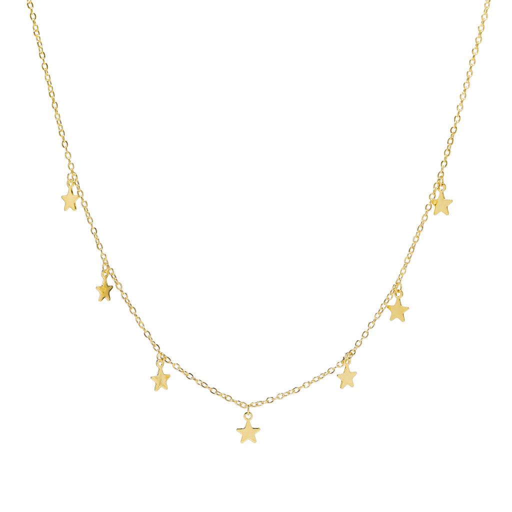 18K gold star choker necklace