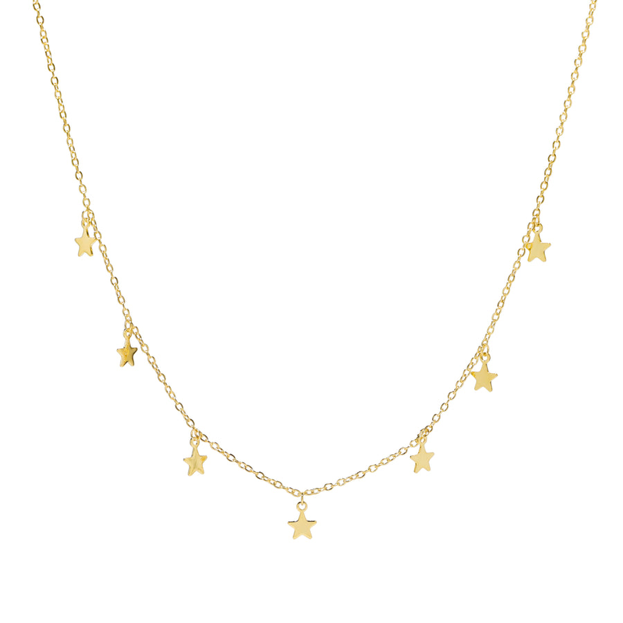 18K Plated Real Gold Star Choker Necklace