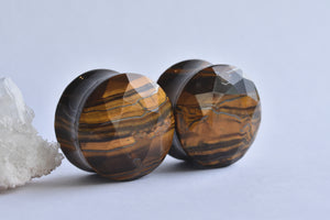 Tawapa Faceted Tigers Eye DF plugs - Pair