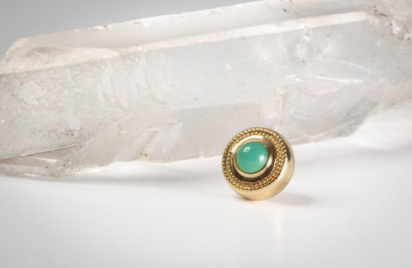 3mm Milgrain - Chrysoprase - Pressure Fit End Only