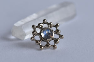 3mm Krystal - Rose Cut Moonstone - Pressure Fit End Only