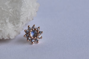 Breezy - Rose Cut Moonstone/Tanzanite - Pressure Fit End Only