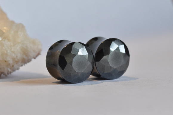 Tawapa Faceted Hematite DF Plugs - Pair