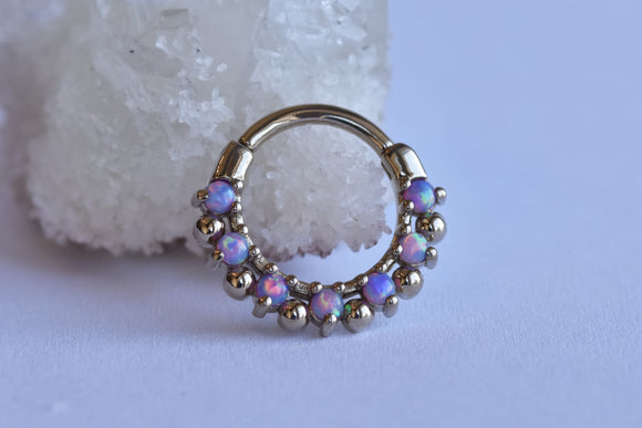 7 Gem Arya Snap Ring - Lavender Opal