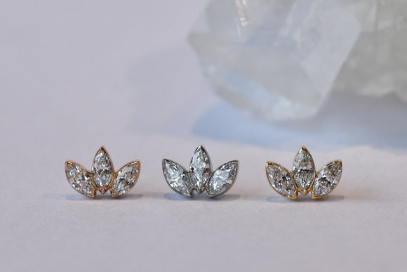 3 Gem Mini Marquise Fan - Clear CZ - Pressure Fit End Only