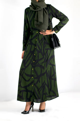 Black/Forest Green Shirt Dress