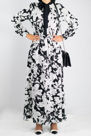 Black and White Wrap Neck Dress