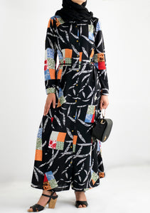 Colourful Patchwork Shirt Dress