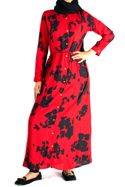 Red Shirt Modest Dress