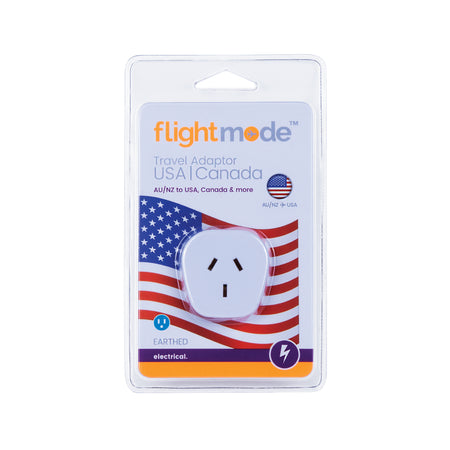 Flightmode Outbound USA/Canada Adaptor Type B - Allows Australian plugs to be used in countries that use USA 3 pin style outlets. Earthed. Max loading: 10A Adaptors do not convert voltage or frequency - please check the supply voltage and frequency and the voltage and frequency required to operate your appliance. If either of these differ, an appropriate transformer must be used.