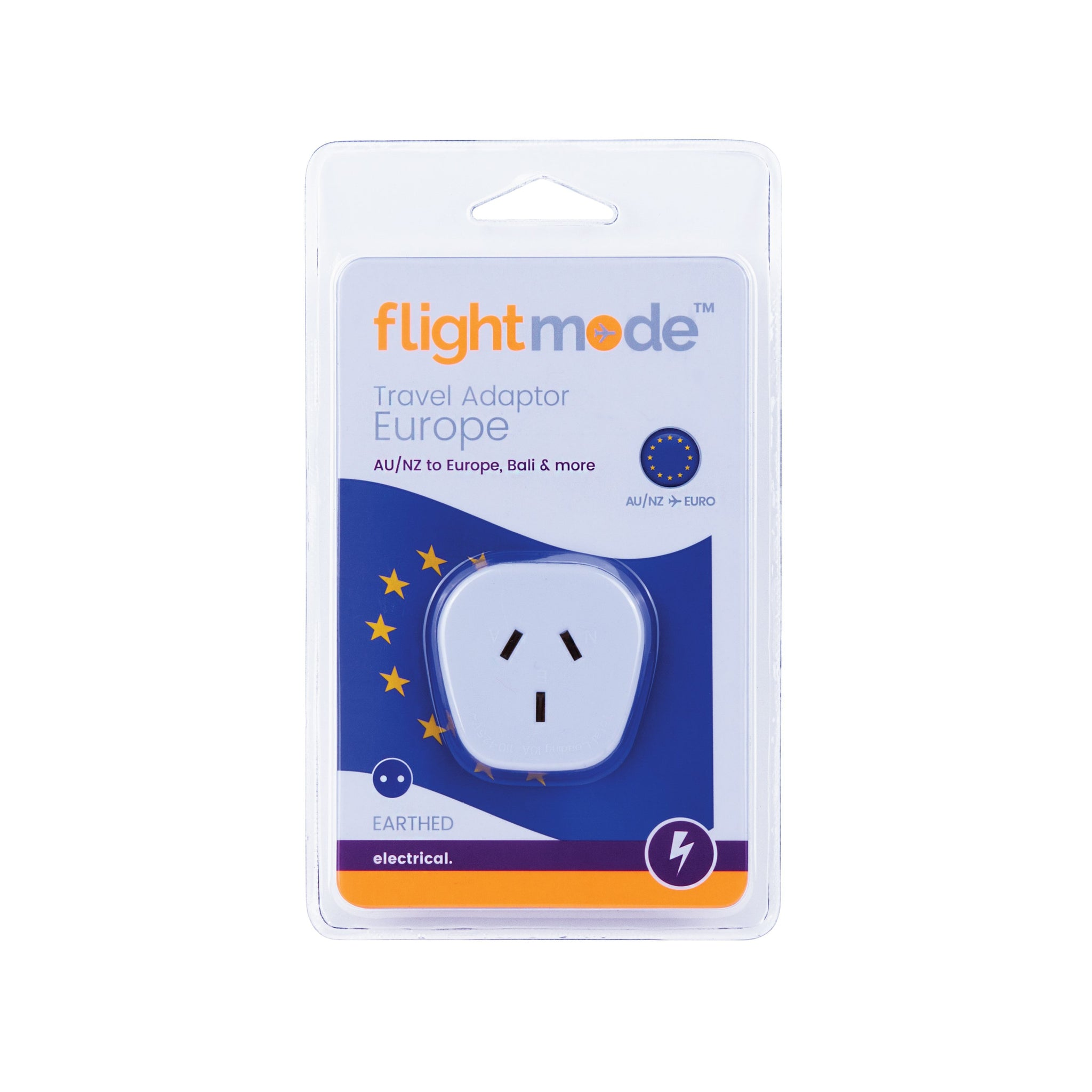 Flightmode Outbound Europe Adaptor (Europe/Bali) Type C - Allows Australian plugs to be used in countries that use the European 2 pin style outlet. Earthed. Max loading: 10A Adaptors do not convert voltage or frequency - please check the supply voltage and frequency and the voltage and frequency required to operate your appliance. If either of these differ, an appropriate transformer must be used.