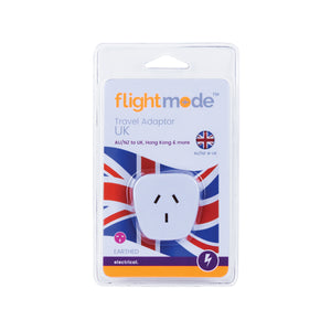 Flightmode Outbound UK Adaptor (Hong Kong/UK) Type G - Adaptors do not convert voltage or frequency - please check the supply voltage and frequency and the voltage and frequency required to operate your appliance. If either of these differ, an appropriate transformer must be used.